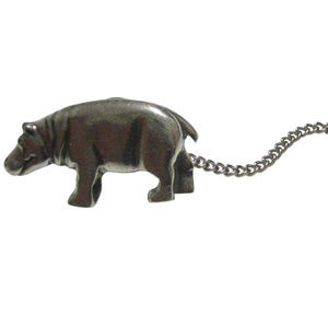 Silver Toned Smooth Hippo Tie Tack